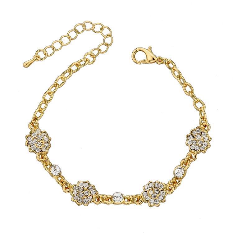 Low Price New Fashion High Quality Rose Flower Bracelet Bangle Gold Plated Chain Bracelet Full Rhinestone Bracelet SBR140382(China (Mainland))