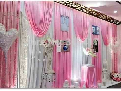 Hotsale 10x20 elegant white and pink baby shower backdrop , swag wedding backdrop curtain , wedding drapes backdrop(China (Mainland))