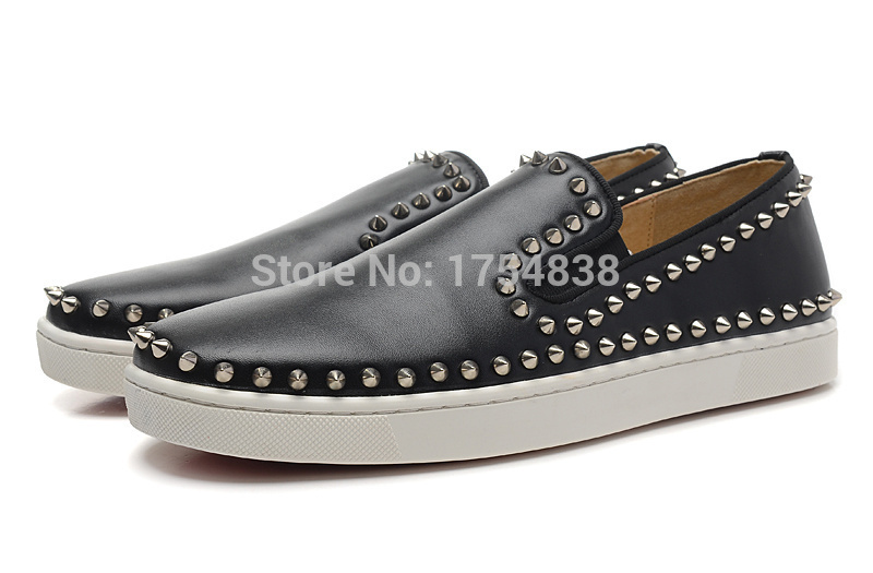black Genuine Leather Red bottom pik boat men's flat low top silver spikes women boat shoes tissu loubi jungle(China (Mainland))