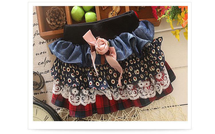 2015 New Summer Skirts S Casual Jeans Stitching Lace Skirt Girls Skirts free shipping(China (Mainland))