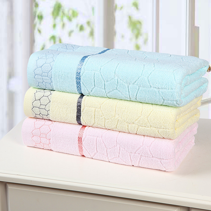 Free Shipping New Home 100% Pure Combed Cotton Towel Beach Bath Towel 140*70cm Water Cube Pattern Plain Jacquard Soft Bath Towel(China (Mainland))