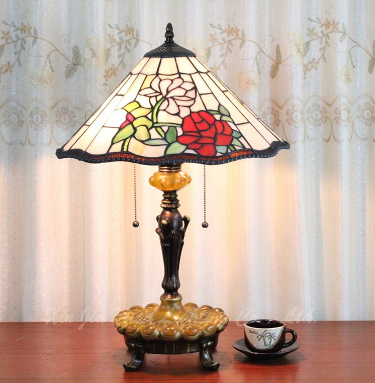 40CM glass Tiffany lamp cozy European-style garden roses wedding bedroom bedside lamp dimmer(China (Mainland))