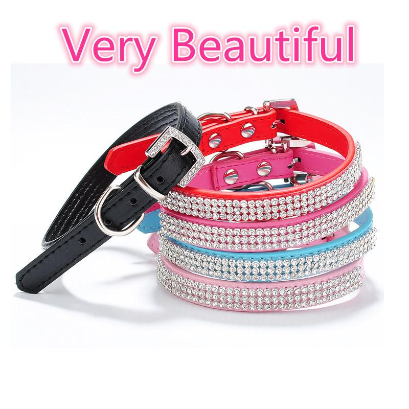 Crystal PU Leather Collar Pet Collar Dog Neck Ring EukanubaPuppy SmallBreed Collar(China (Mainland))