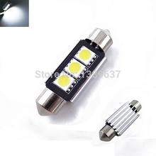 FreeShipping 10pcs/lot Festoon 3 LED 36mm 39mm White Dome Festoon CANBUS Error Free Car 3 LED 5050smd Light Bulb Lamp(China (Mainland))