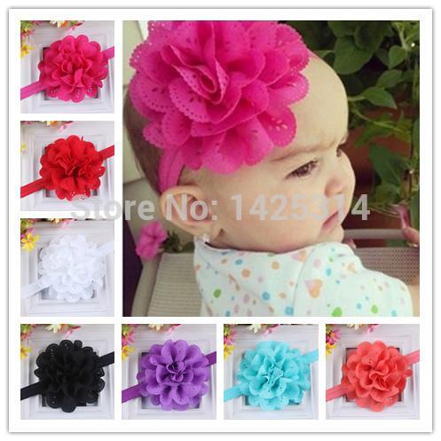 "4""Large Chiffon Pierced Flower Baby girls Headbands Wave Pattern Hollow Colorful Girls Hair band Children Hair accessories 12Pcs(China (Mainland))"