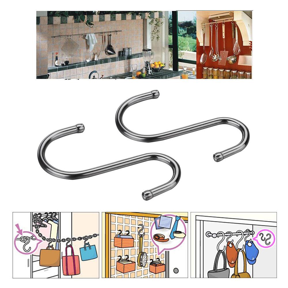 2pcs Stainless Steel S Shape S-hooks 7.2cm Length Hook Hanger Kitchen Holder Portable Hanging Hooks(China (Mainland))