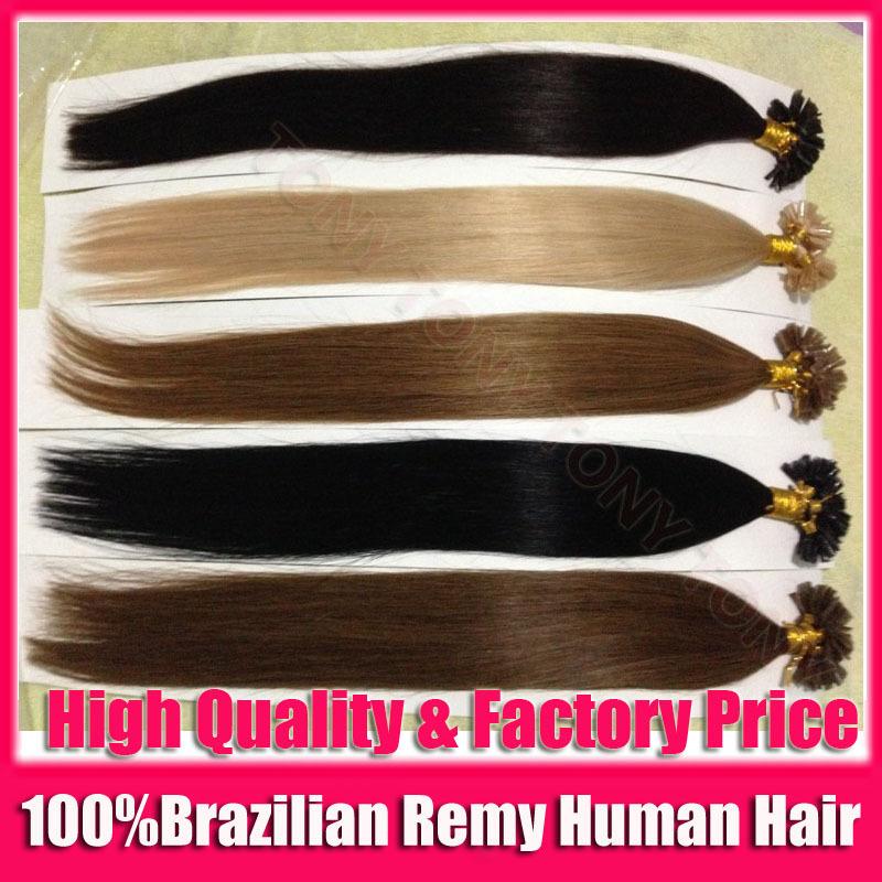 "10packs/lot 100S/pack 20"" inch 50cm 100% Brazilian Remy Real Human Natural Hair Extensions Nail U Tip Fushion Hair Keratin Glue(China (Mainland))"