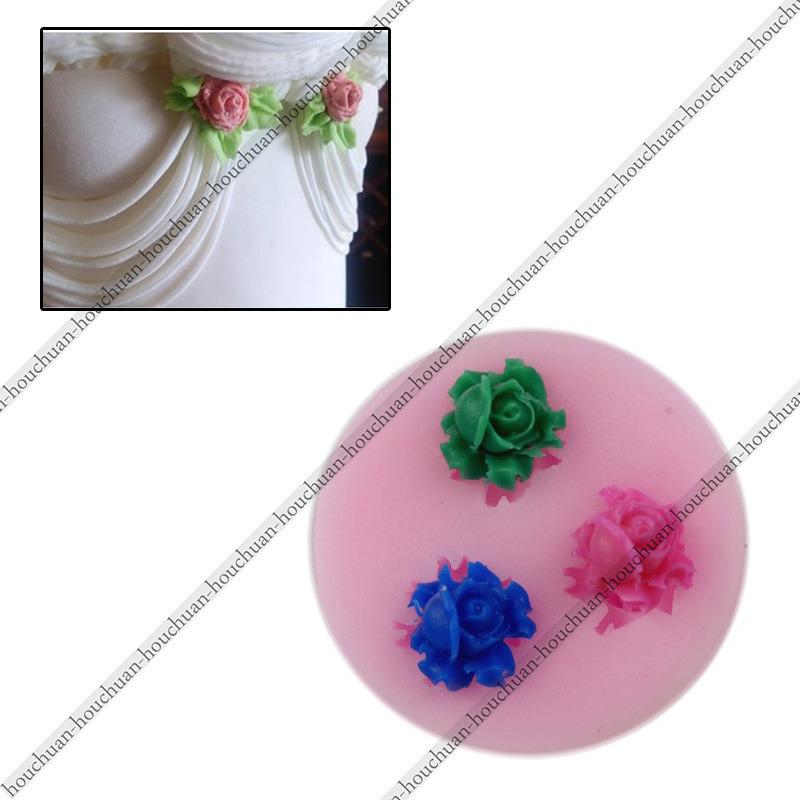 New 2015 3D 3PCS MINI Cute Rose Flower Shapes Fondant Mold Silicone Sugarcraft Cake Soap Candle Decorating DIY Mold Tools(China (Mainland))