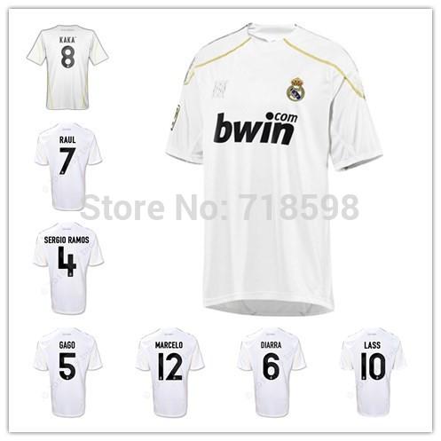 Free shipping Real Madrid Retro 09/10 Soccer Jersey LASS/DIARRA/GAGO/SERGIO RAMOS/RAUL/MARCELO/KAKA/RONALDO football jersey(China (Mainland))