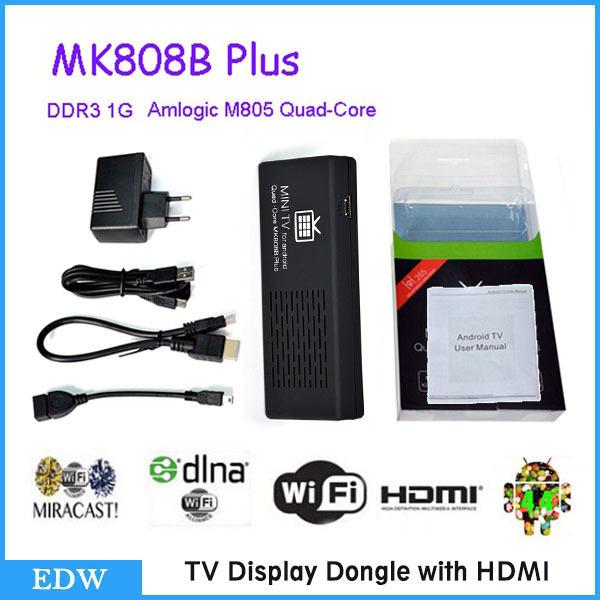 MK808B Plus Android 4.4 HDMI TV Stick TV Dongle Amlogic M805 Quad-Core 1GB 8GB Mini PC Bluetooth XBMC Miracast/DLNA TV Receiver(China (Mainland))