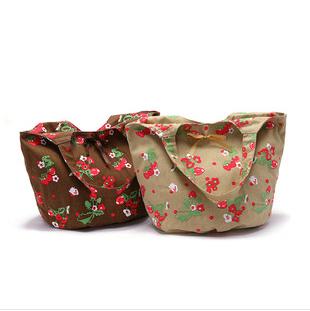 SL16 2014 new 100% cotton canvas bag lovely bowknot strawberry fresh hand the bill of lading shoulder bag handbag(China (Mainland))