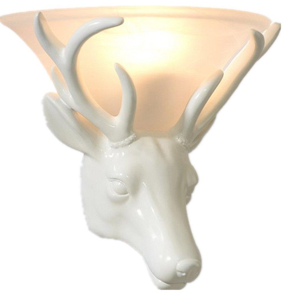 Novelty European Home Decor Deer Head Wall Lamp with Glass Shade(China (Mainland))