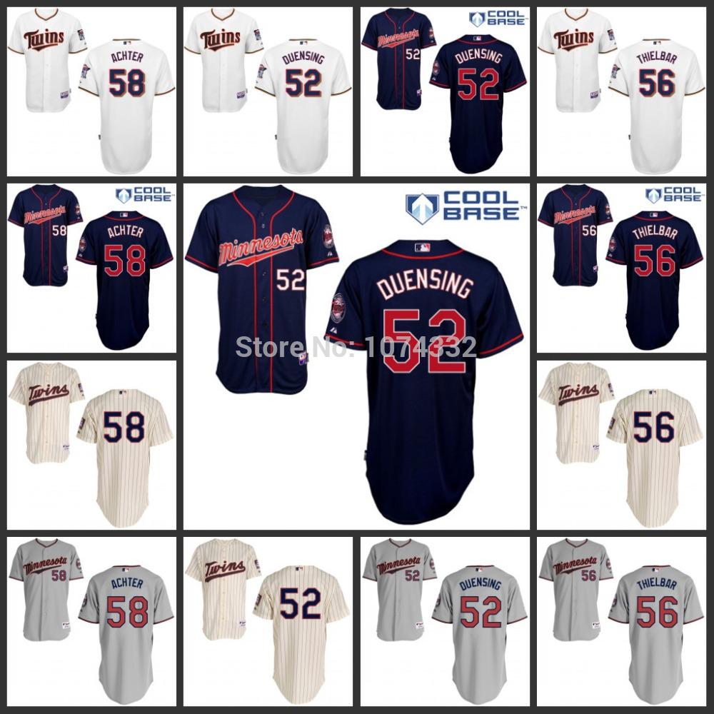 Twins baseball jersey 52# Duensing 58# AJ Achter 56# Thielbar s/3xl minnesota twins Baseball jersey жилет нова тур лена черный 56 58 xl