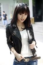 2015 Korean Short Coat Style Leather Jacket Women Slim Biker Soft Zipper Girl Leather Jaquetas De Couro Women's Clothing SW39(China (Mainland))