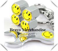 4caps/set cars accessaries  wheel tire tyre valve caps stem rims wrench covers with smile car logo brands emblem badge