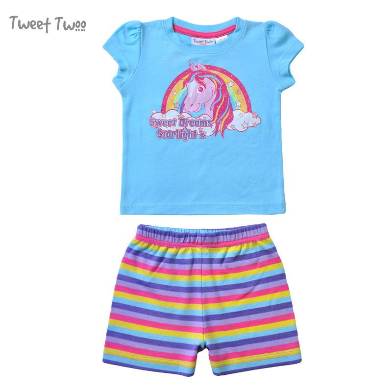 Children's summer children's sleepwear cotton baby cartoon girls Home Furnishing set wholesale rainbow horse pattern(China (Mainland))