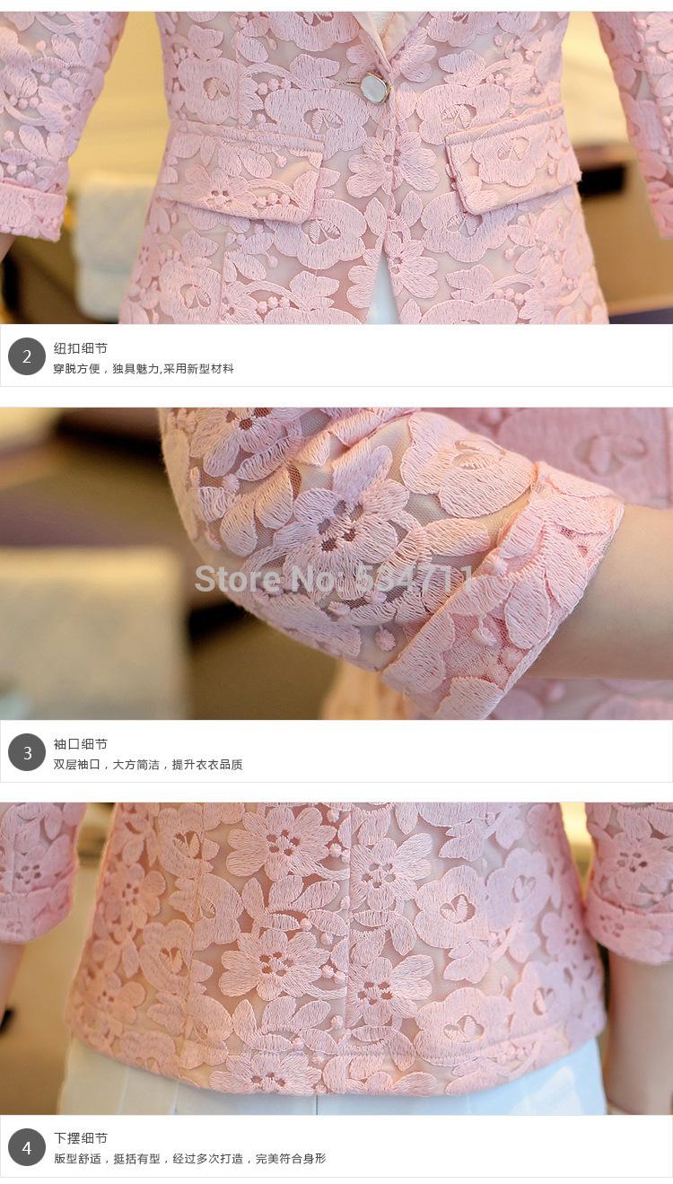Весна женщины кружево пиджак A зернистость из пряжка костюм s - XL