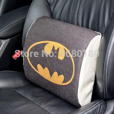 Automotive supplies linen cotton waist cushion cartoon office back seat Batman waist pillow car decoration accessories(China (Mainland))