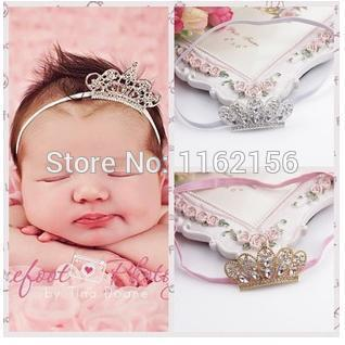 New arrival cute newborn baby pink princess crystal crown headbands with skinny elastic bands baby floral crown headband(China (Mainland))