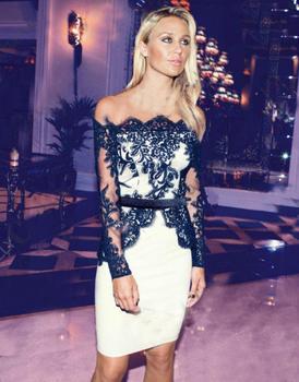 Белый черный лоскутная кружева платья стильный знаменитости женщины формальные платья длиной до колен платье прозрачный без бретелек цветочные YH0119