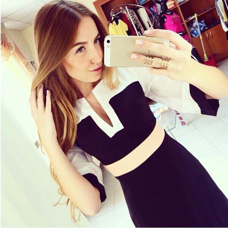 Formal Lady Office Work Wear Dress 2015 Hot New Fashion OL Women V-neck Half Sleeve Hit Color Stitching Slim Dress Casual Dress(China (Mainland))