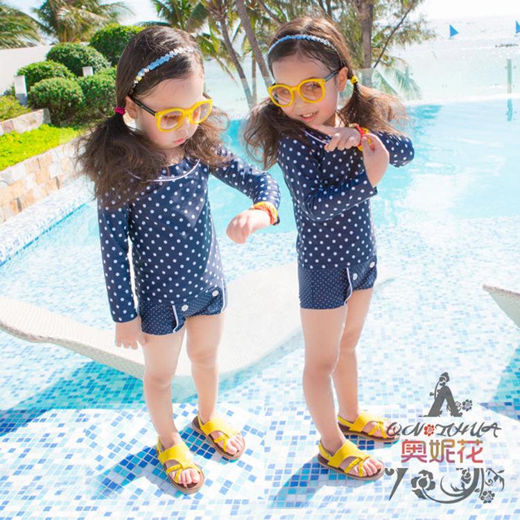 Trajes De Baño Verano Azul:niños del verano traje de baño del bebé niña de dos piezas azul