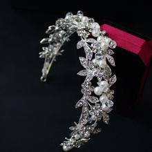 100% Handmade Flower Leaf Pearl Bridal Wedding Bridesmaid Prom Party Crystal Headband Tiara  Jewelry Accessories HCJ410