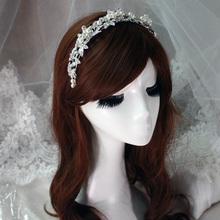 100 Handmade Flower Leaf Pearl Bridal Wedding Bridesmaid Prom Party Crystal Headband Tiara Jewelry Accessories HCJ410