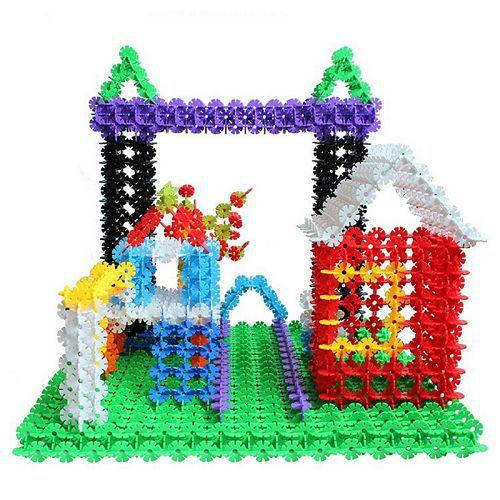 100pcs Children Kid Baby Toys Multicolor Building Blocks Snowflake Creative Educational Construction Plastics Toys(China (Mainland))