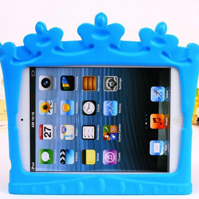 Luxury Crown Appearance Kids Children Safe Shockproof Soft EVA Silicon Portable Stand Protective Cover Case For Ipad Mini 1/2(China (Mainland))