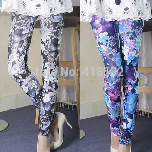 K017--FLoral graffiti pants for grils Fashion women leggings 2015 New(China (Mainland))