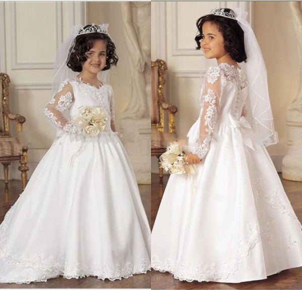 Free Shipping Fsahionable White Lace Applique Long Sleeve Flower Girls Dresses with Train Communion Dresses Kids Frock Designs(China (Mainland))