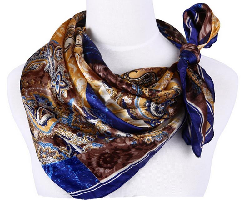 Fashion Womens Lady's 100% Silk Pure Silk Square Large Scarf Scarves Shawl Head Wrap Neckerchief Abstract Pattern Dark Blue(China (Mainland))