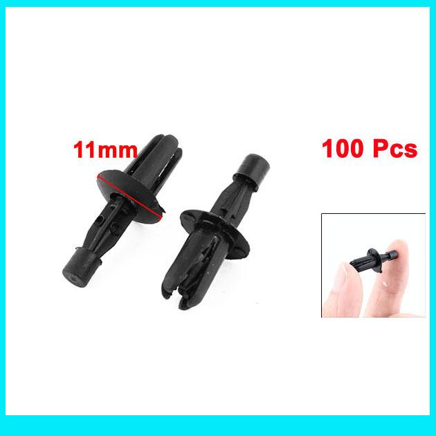 Free shipping100 Pcs 6mm Hole Plastic Push Fastener Rivets Car Door Clips Black(China (Mainland))