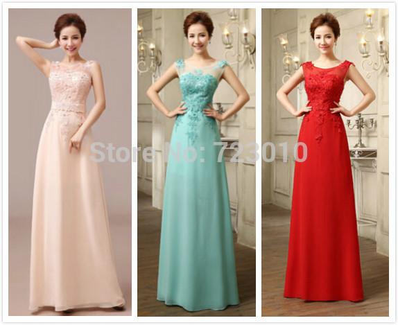 Elegant Free Shipping sexy chiffon lace applique beautiful lady dress Pink long evening prom dress 2015(China (Mainland))