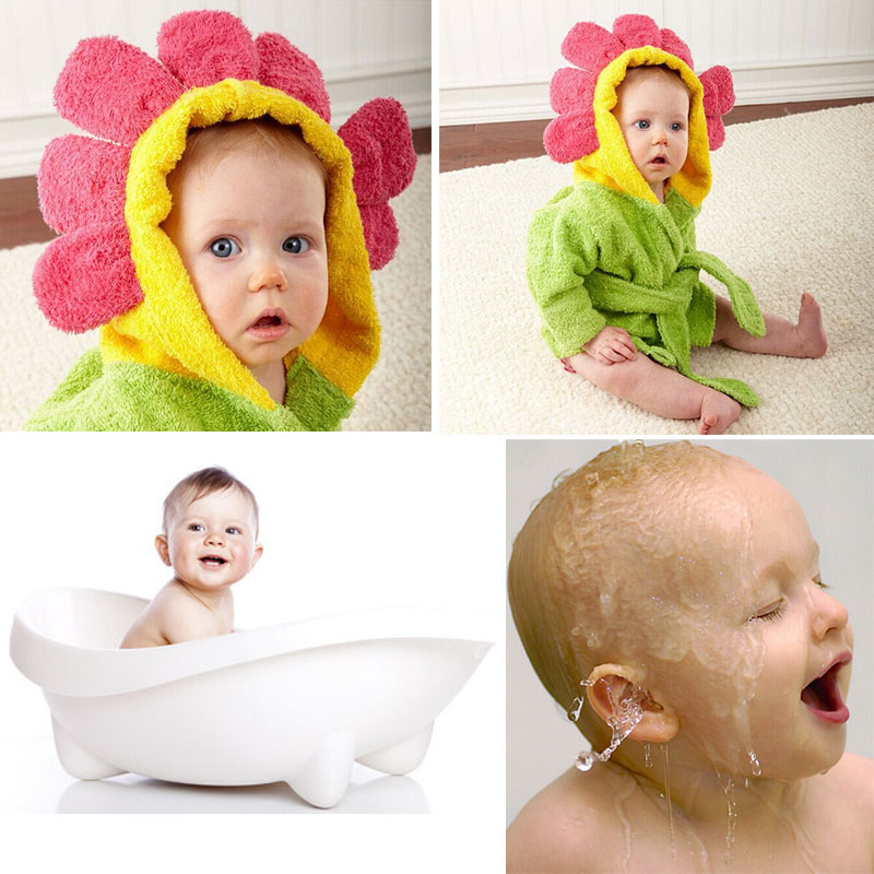 Baby Boy Girl Sunflower Bathrobe Hooded Bath Towel Kids Children Infant Bathing Accessories Baby Robe Free Shipping(China (Mainland))
