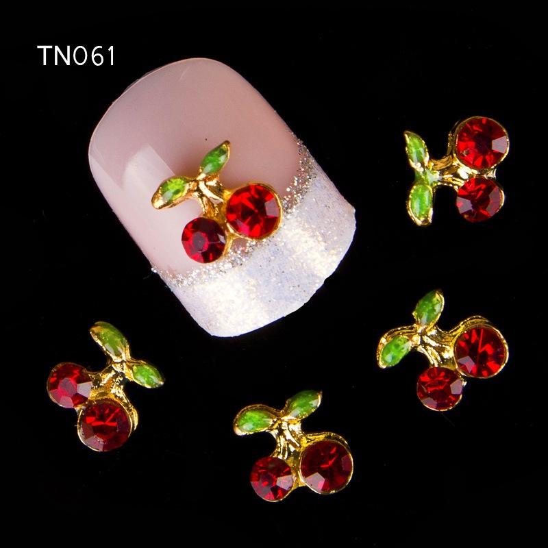 10Pcs New 2015 Gliter Red Flower ,3D Metal Alloy Nail Art Decoration/Charms/Studs,Nails 3d Jewelry TN061(China (Mainland))