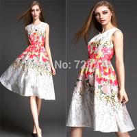2015 Spring Fashion Dress Summer DRESS Long  Elegant 3D Flower Print Sleeveless Vintage New Women DRESSES O-Neck