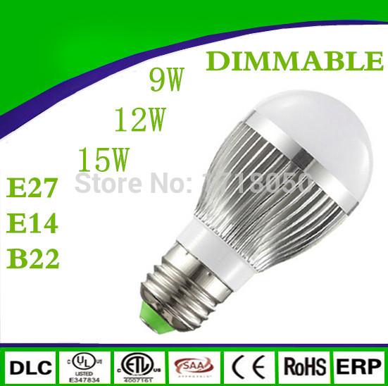 1pcs Free shipping E27 E14 CREE DIMMABLE Led Bulb Lamp 3X3W 4X3W 5X3W 180 Angle High Power Led Spotlight 85-265V(China (Mainland))