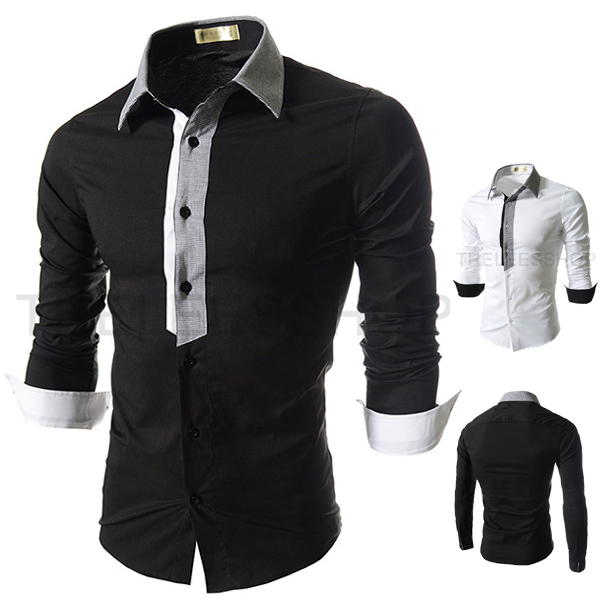 Cheap Wholesale Men's Designer Clothes Dress Shirts Stripe Casual