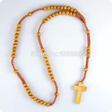 Wood Rosary Beads INRI JESUS Cross Pendant Necklace Catholic Fashion Religious jewelry