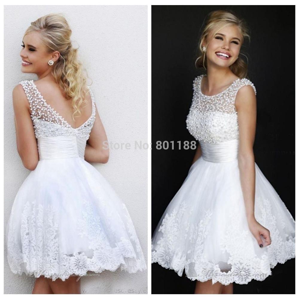 Ivory Pearls With White Wedding Dress Short Wedding Dress 2015 White
