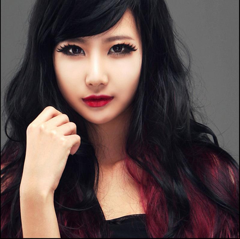 Fashion women black children Korean Fan Ying Hong gradient big wave long hair wig factory direct W063(China (Mainland))