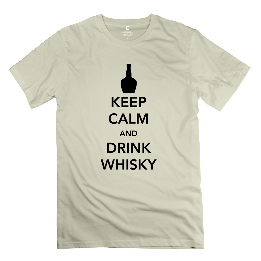 Casual O-Neck Keep Calm and Drink Whisky Men t-shirt Latest 2015 Fashion tshirt For men's(China (Mainland))