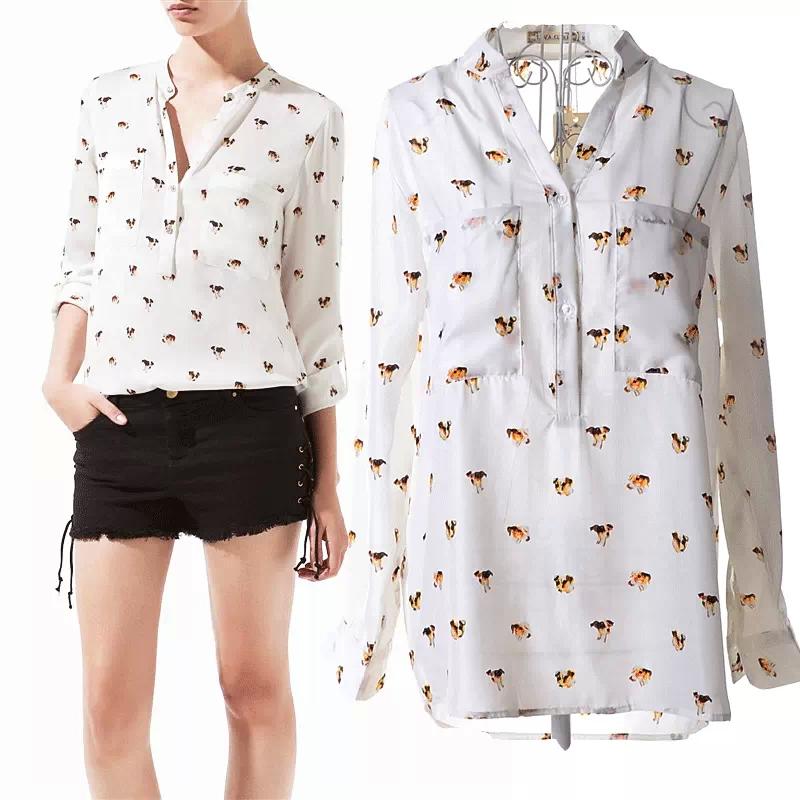 Hot Sale New 2015 Casual Loose Long-Sleeved Shirt Tops Stand Dogs Printing Chiffon Womens Blouses Camisas Femininas S-XL(China (Mainland))