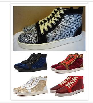 Spring new 2014 Luxury France Red Bottom genuine leather sneakers for women.LOUIS STRASS WOMEN'S FLAT fashion boots plus size(China (Mainland))