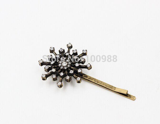 H794-162 20pairs/Lot Free Shipping vintage girls hair accessories supplies crystal rhinestone snowflake hair pins(China (Mainland))