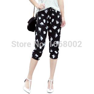 XXXL New Fashion 2015 summer Brand casual black printing Elastic Waist Loose women chiffon pants plus size trousers for women(China (Mainland))