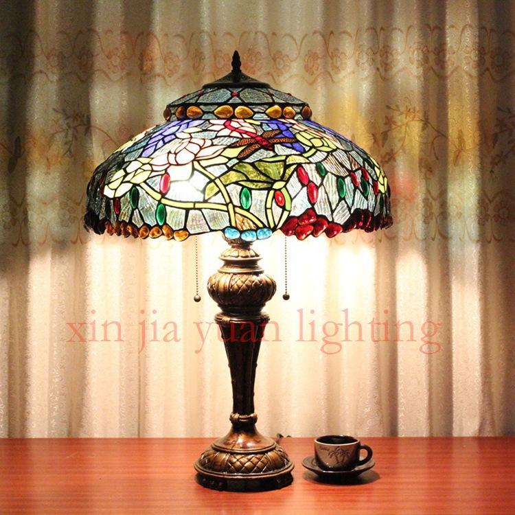 20 inches 50CM zipper senior Tiffany lamp switch pastoral creative handmade glass art dual headlights(China (Mainland))