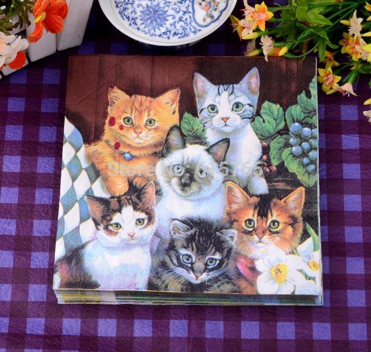 Happy cat patterns Bandanna Color printing paper handkerchief Colorful banquet napkins Free shipping(China (Mainland))